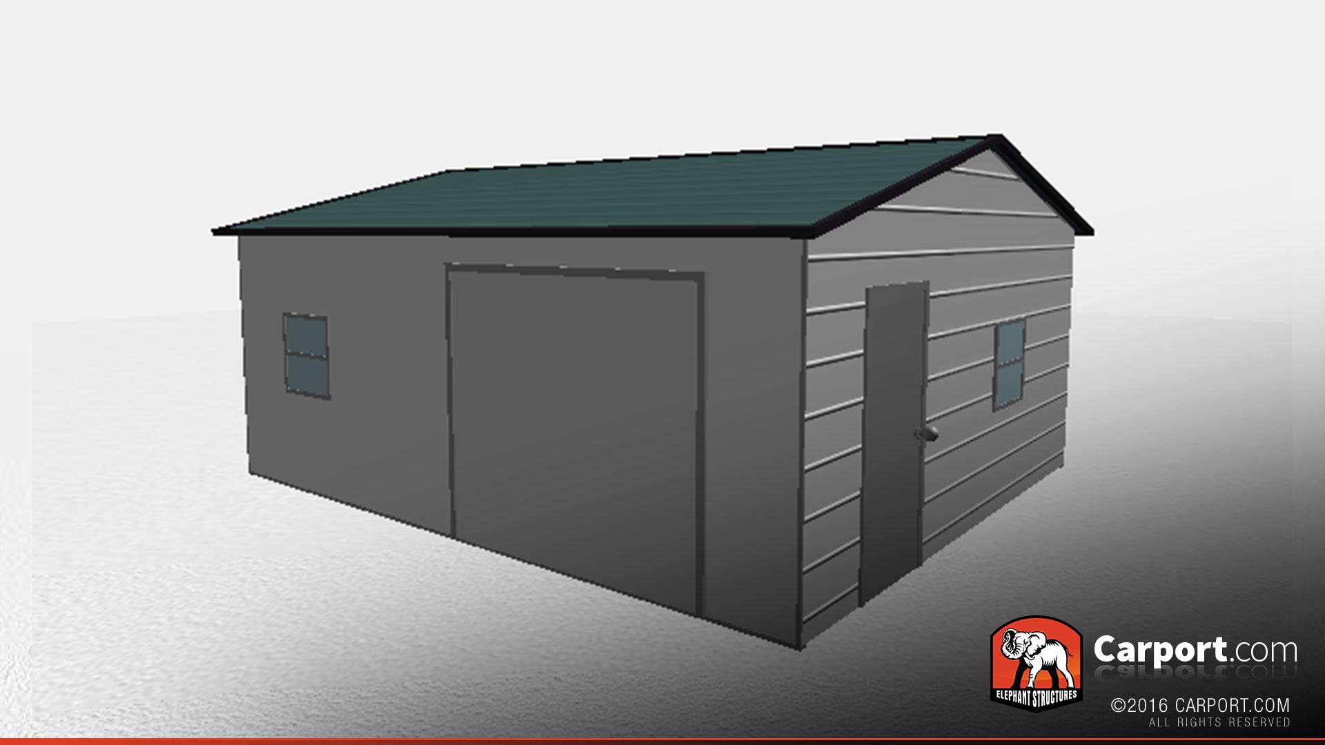 Enclosed Carport Metal Building : Durable  fully enclosed metal garage