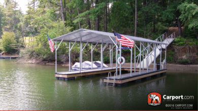 Custom double wide carport installed on a dock.