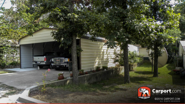 Double Wide Three Sided Carport