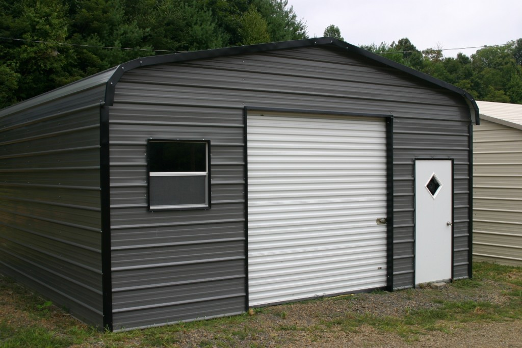 Metal man cave with one garage door, one walk-in, and one window.