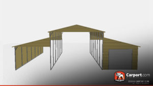 Custom barn with one lean to enclosed and the other open.