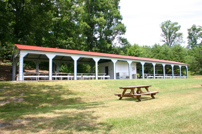 Picnic area cover with many frameouts an the sides.
