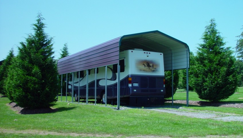 Rv carport cover with panels on either side.