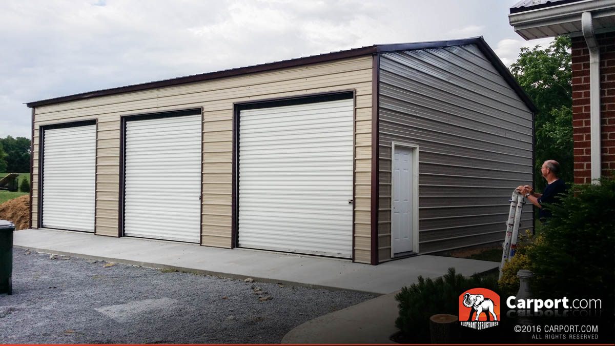Commercial three car garage at 18 39 wide x 31 39 long x 10 for How wide is a 3 car garage