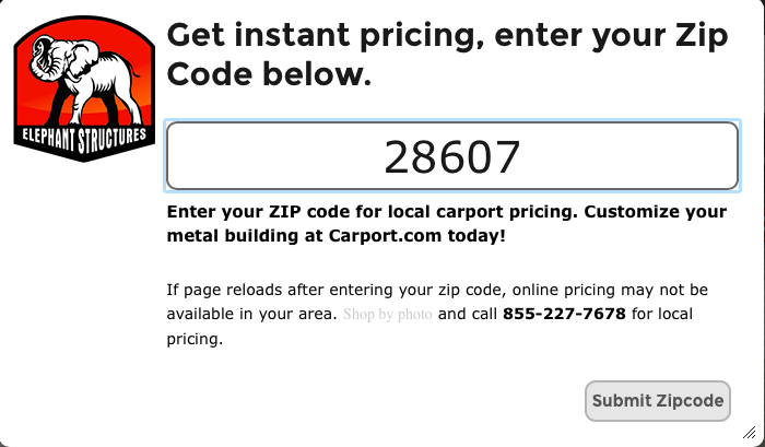 Zip code entry form, with submit zipcode entry form.