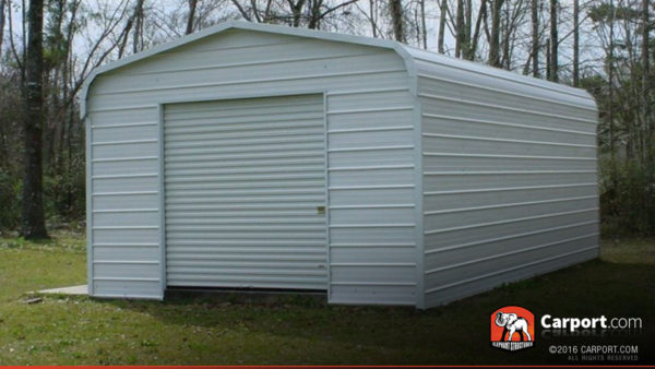 12x21 Steel Garage with White Roof and White Walls