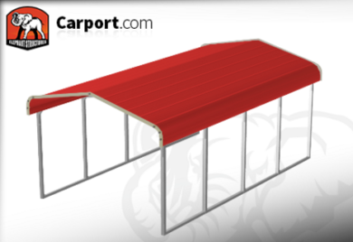 12x21 One Car Steel Carport with Red Roof and Gray Trim