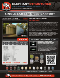 16x31 Single Car Certified Carport with White Roof and White Trim