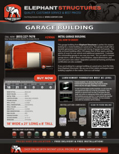 18x21 Garage Building with Red Roof and White Trim