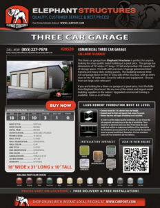 18x31 Three Car Garage with Brown Roof