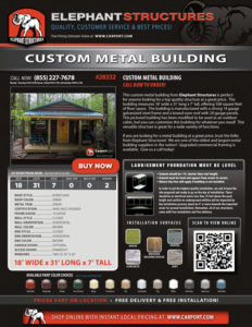 18x31 Custom Metal Building with Green Roof and Brown Walls