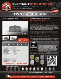 22x31x9 Two Car Garage with Dark Gray and Light Gray Walls.