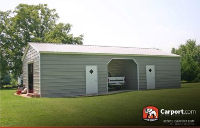 24 x 31 vertical roof double wide metal garage