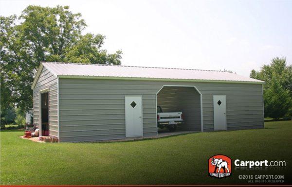 24 x 31 vertical roof double wide metal garage