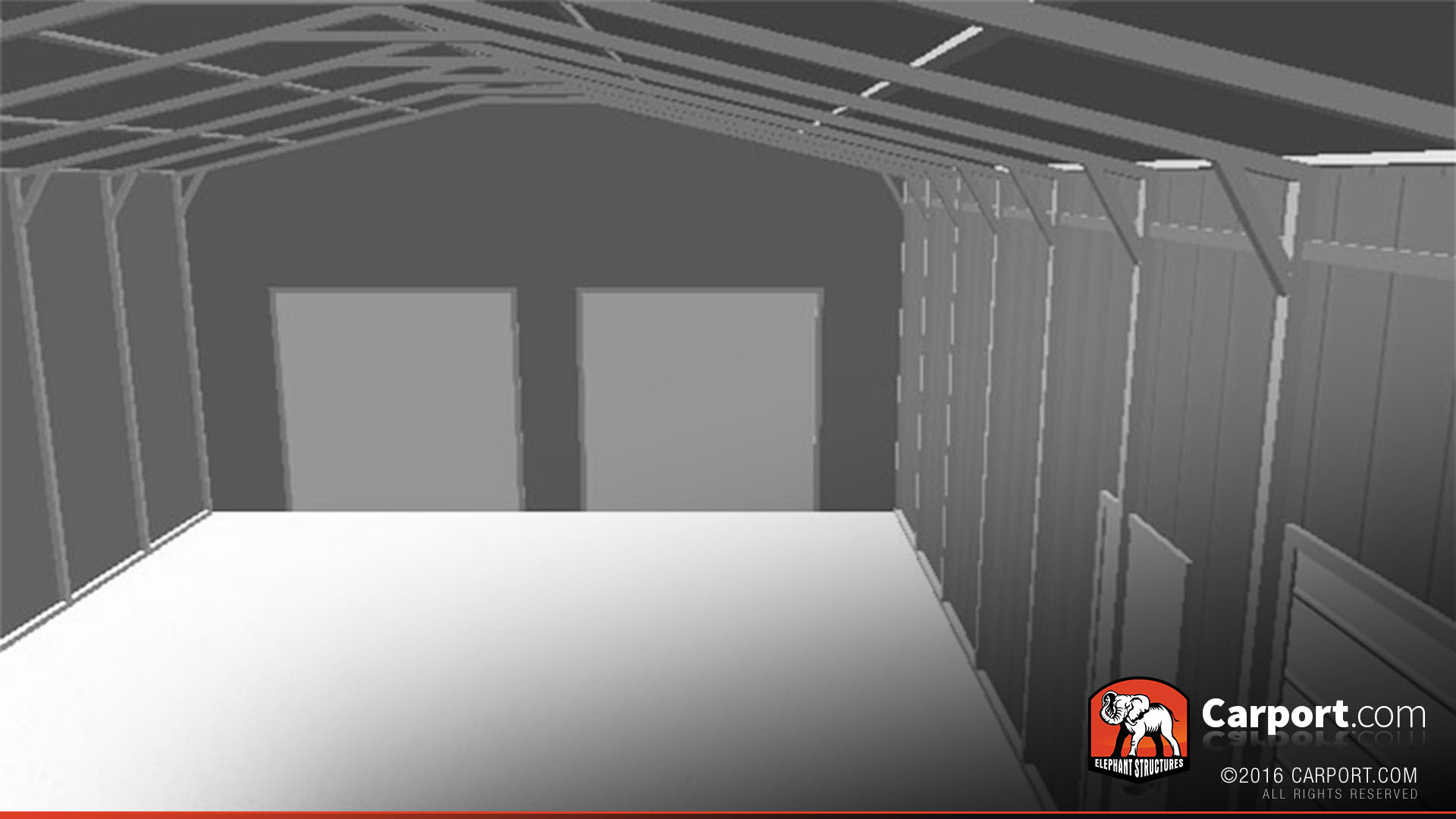 36x36 Metal Garage With Lean To Interior