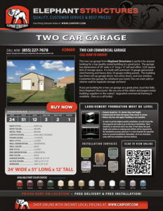 24x51 Two Car Garage with Brown Roof and Beige Walls
