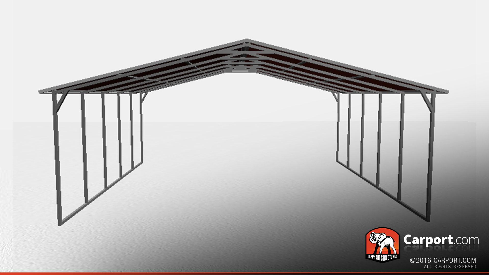 26 X 21 Triple Wide Open Steel Carport Shop Metal