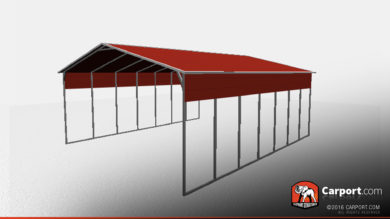 open steel carport with A Frame