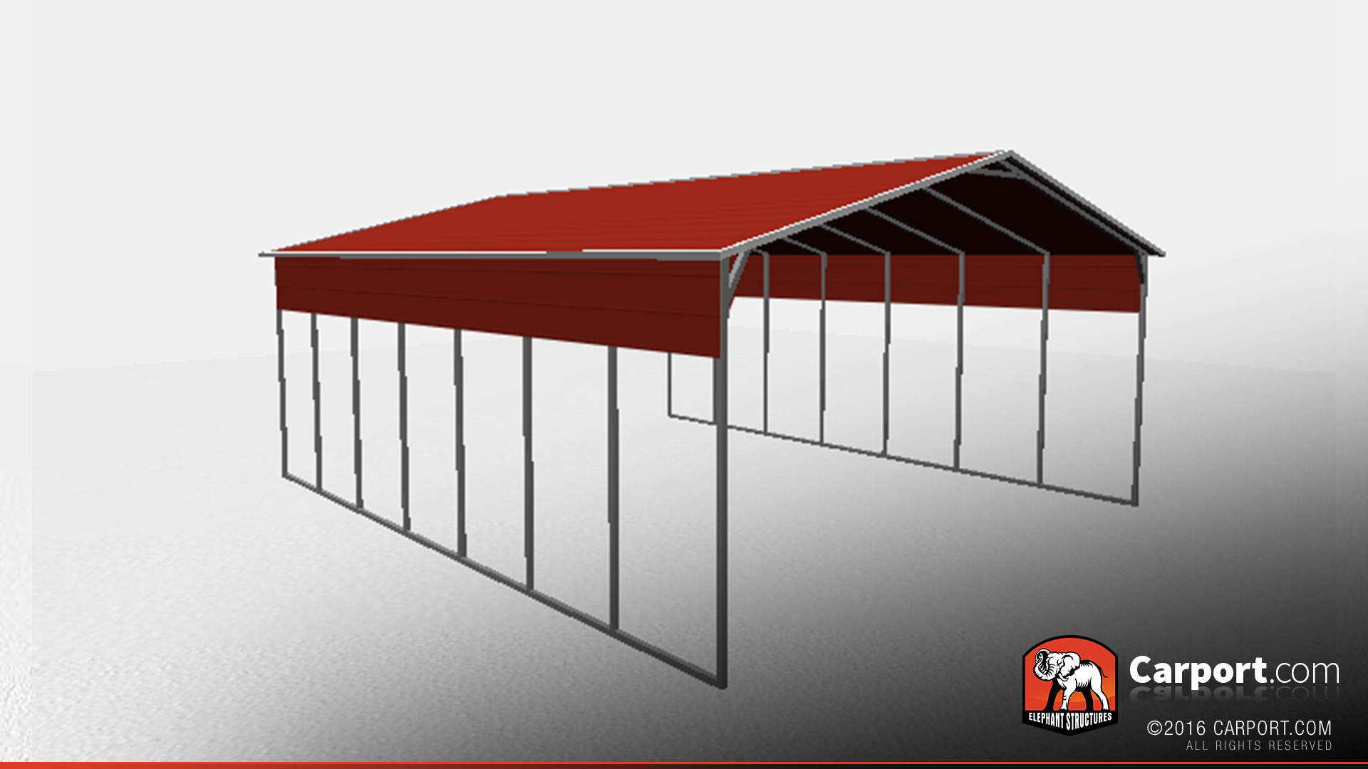 26\' x 36\' Open Steel Carport with A-Frame Roof | Steel Carports Info
