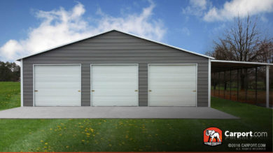 42x31 Custom Three Car Garage with White Roof and Grey Walls