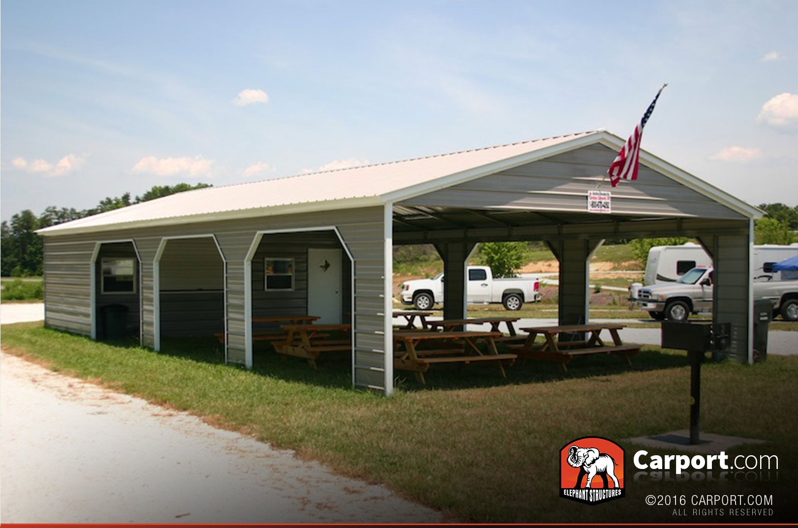 30 39 wide metal picnic shelter with storage area shop for Carport width