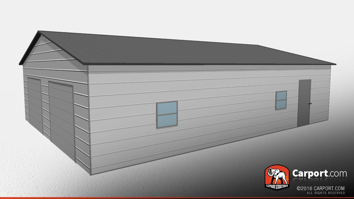 30x40 Two Car Garage with Dark Gray Roof and White Walls