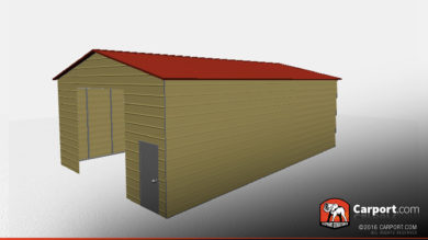 30 x 50 vertical roof metal workshop side view