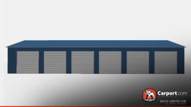 30x80 Commercial Metal Garage with 6 doors 1
