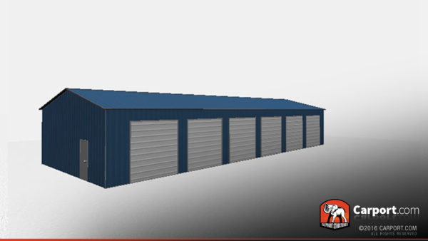 30x80 Commercial Metal Garage with 6 doors 3