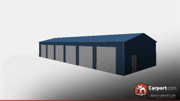 30x80 Commercial Metal Garage with 6 doors 4