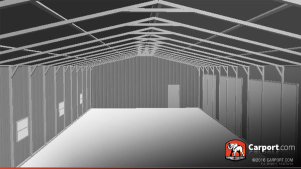 30x80 Commercial Metal Garage Interior