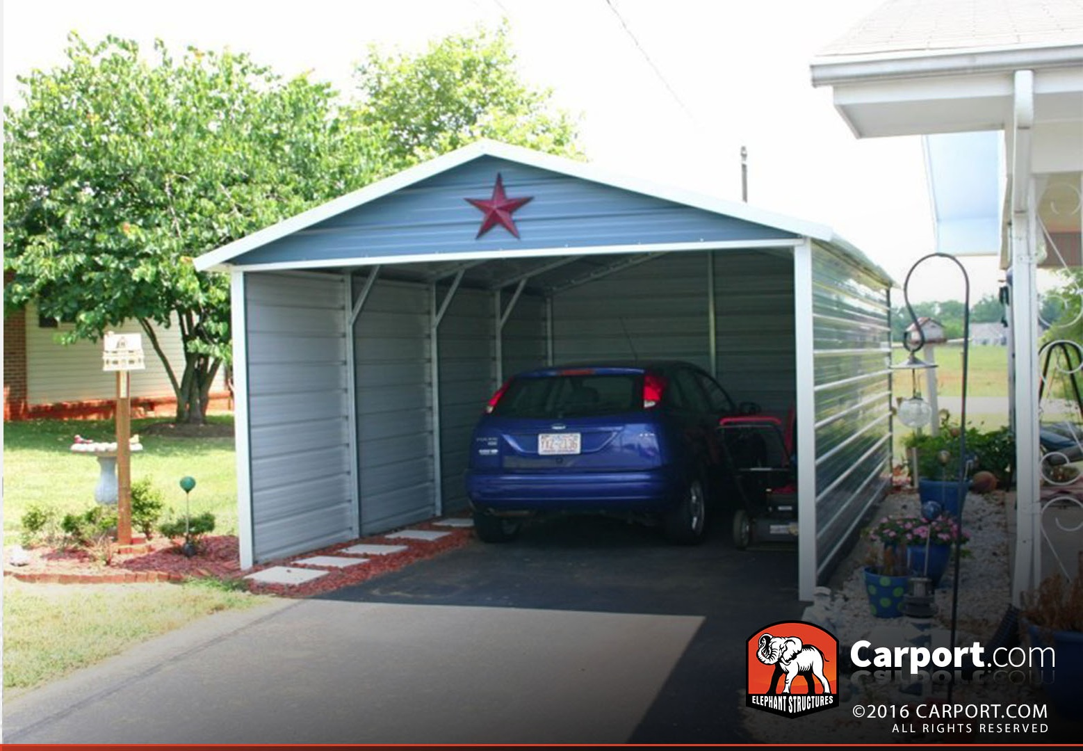 Exceptional 12x21 Single Car Carport Boxed Eave Roof