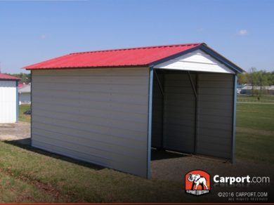 12x21 Vertical Roof 1 Car Metal Carport with Red Roof and White Walls