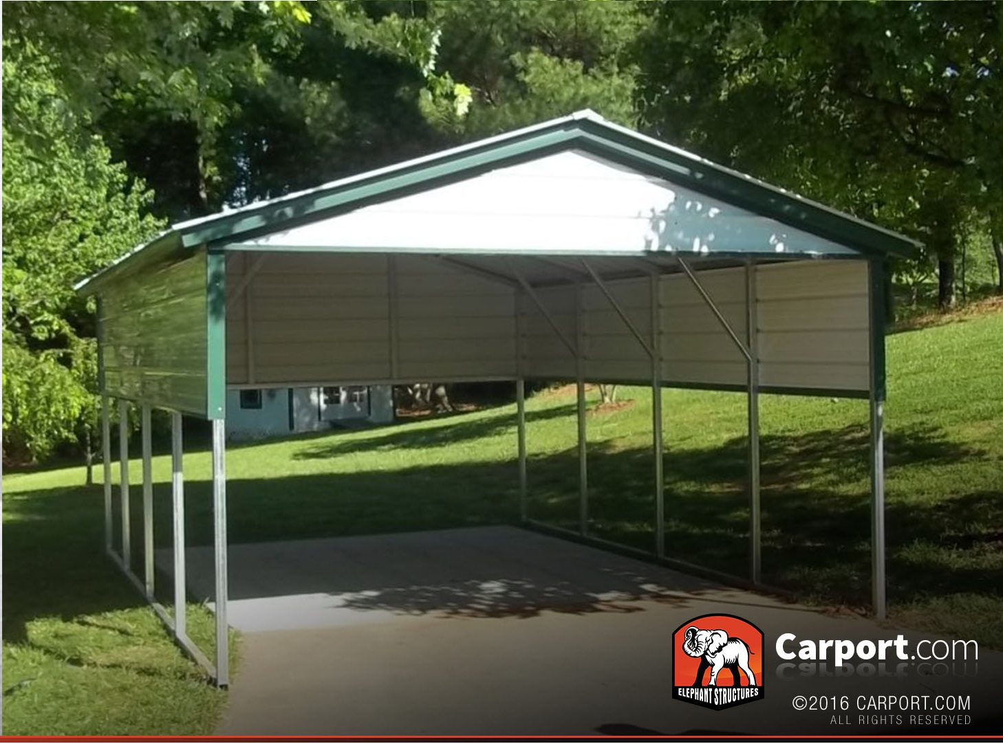 Single car carport 12 39 x21 39 with vertical roof shop metal for Carport one