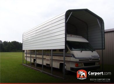 12x31 RV Shelter with White Regular Roof and White Walls