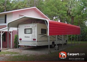 12x36 RV Carport Metal Building with Red Roof and White Trim