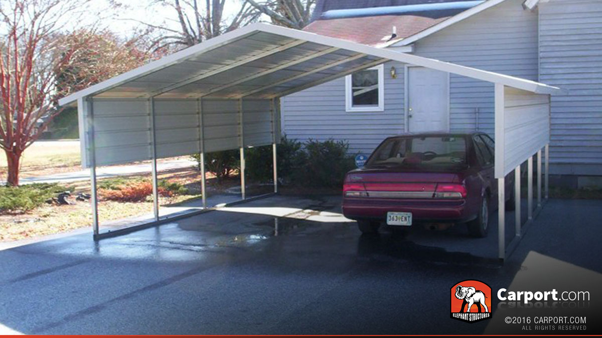 2 car boxed eave carport 18 39 x 21 39 shop metal carports for Carport shop combo