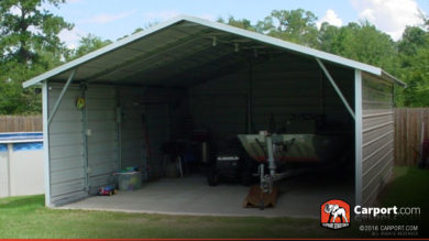 18x21 Two Car Carport Boxed Eave Roof