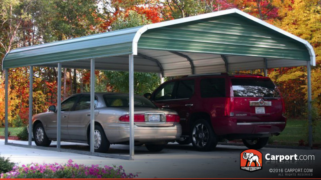 18x21 Two Car Carport with Green Regular Roof and Gabled Ends