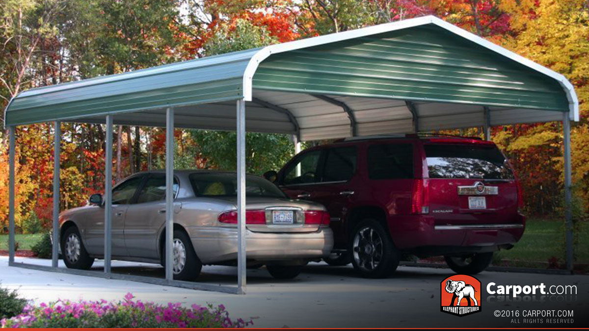 2 Car Metal Carport Flat : Two car carport  regular roof shop metal