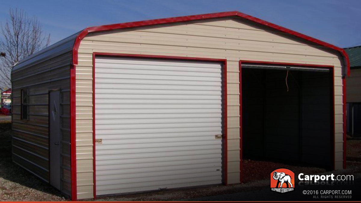 Metal garage two car 18 39 x 21 39 x 9 39 shop metal garages for Carport shop