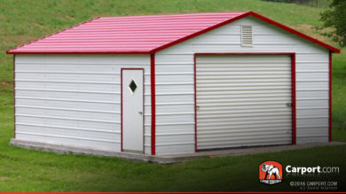 12x21 Metal Building Boxed Eave Garage with Red Roof