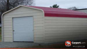 12x21 Metal Garage Building with Red Roof and Beige Walls