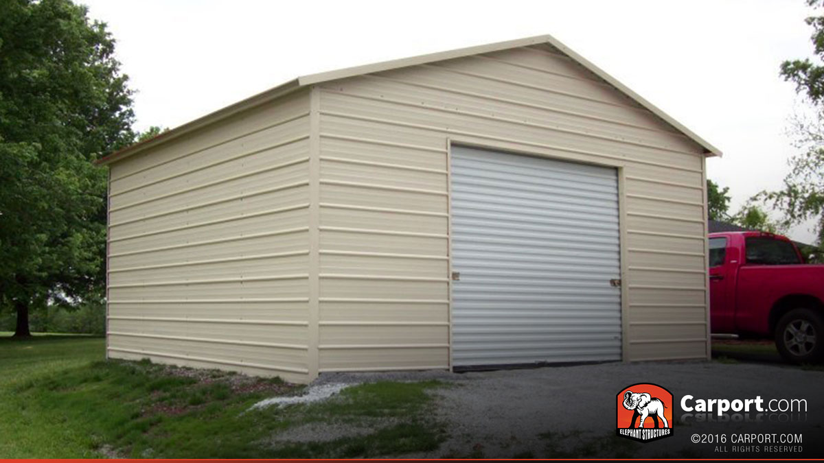 Steel garage 18 39 x 21 39 for one car shop steel buildings for One car garage with carport