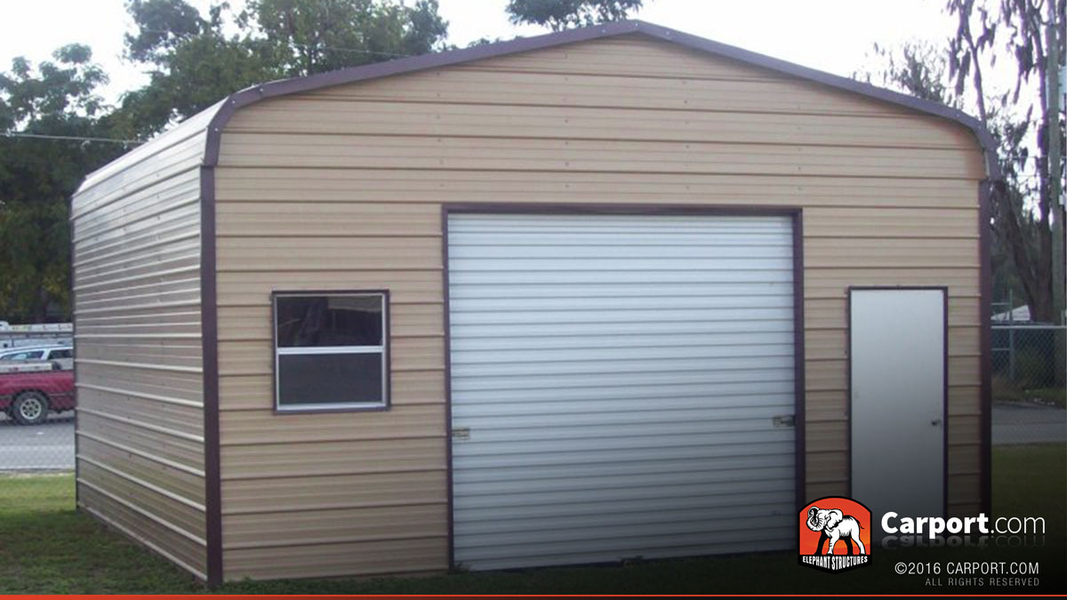 Metal garage with regular roof 18 39 x 21 39 shop metal for Single garage with carport