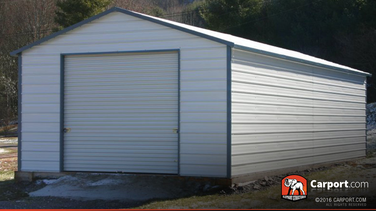 Steel garage for one car 18 39 x 26 39 x 8 39 shop metal for One car garage with carport