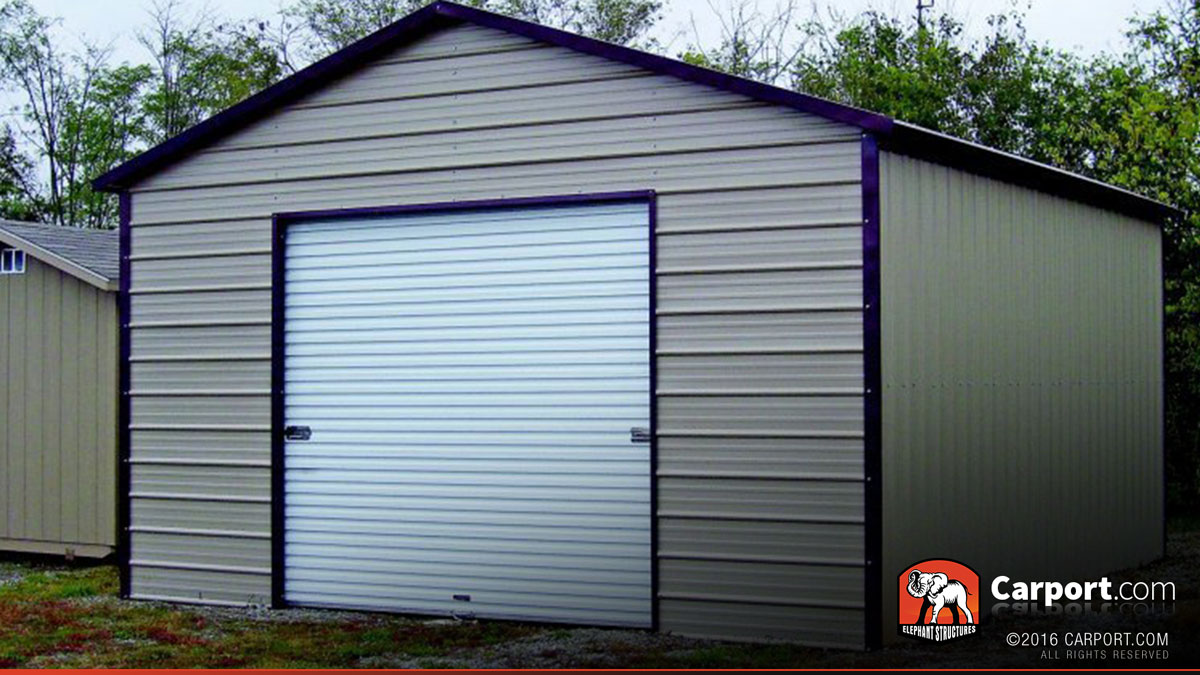 Car Roof Sheet Metal For Garage : Metal garage boxed eave roof  shop