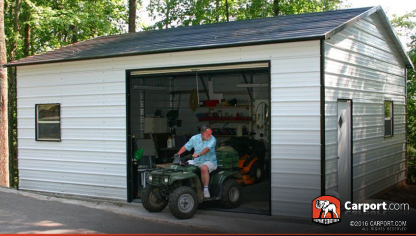 18x26 Metal Building Garage with Black Roof and White Walls