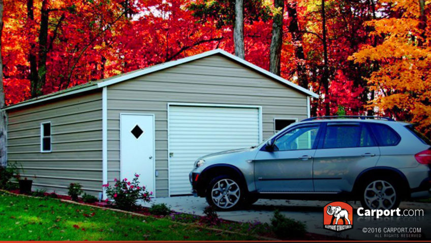 20x21 Steel Garage with Boxed Eave Roof