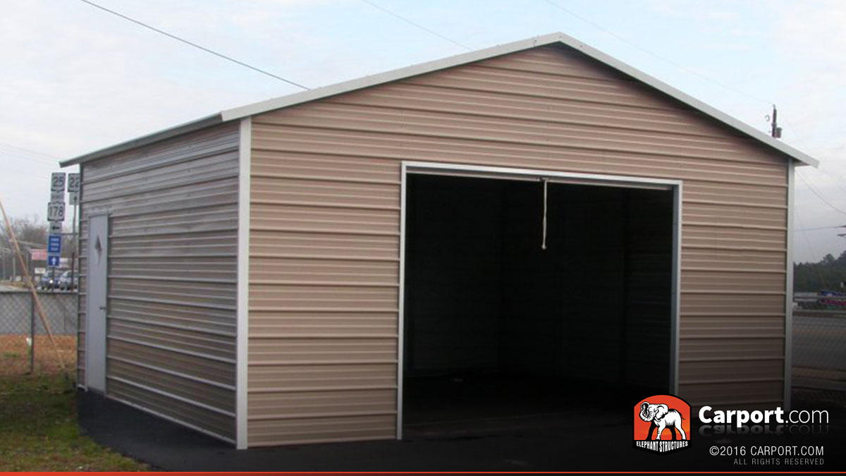 Metal garage for 1 car 20 39 x 21 39 shop metal buildings for Carport shop